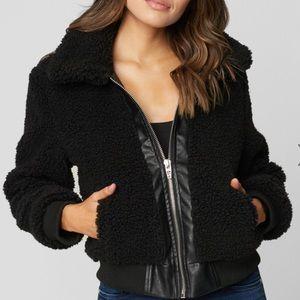 Blank NYC Poppy Black Faux Sherpa Crop Jacket SzXS
